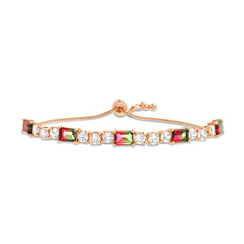 Earring Tourmaline Pink Cut Emerald - INSPIRED BY YOU. Emerald Cut Prong Set Simulated Watermelon Tourmaline and Round Cubic Zirconia Adjustable Tennis Bracelet for Women in Rose Gold Plated Sterling Silver