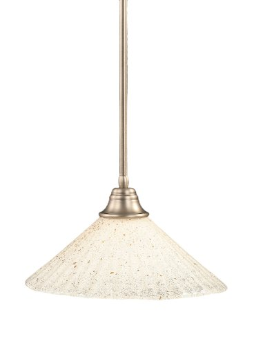 Toltec Lighting 26-BN-714 Stem Pendant Light Brushed Nickel Finish with Gold Ice Glass Shade, 16-Inch - Gold Ice Shade