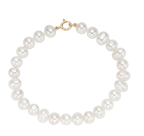 14k Yellow Gold Baby Freshwater Cultured Pearl Flower Girl Bracelet (4-5mm) 5.25 Inch
