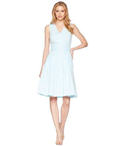 Donna Morgan Women's Short Sleeve Zipper Front Shift Dress, Aqua, (Womens Seersucker Shift Dress)