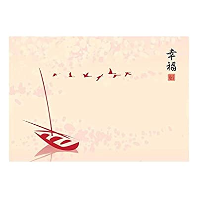 Delightful Technique, Created Just For You, Vector Chinese Boat on a Lake with Birds Flying by Wall Mural