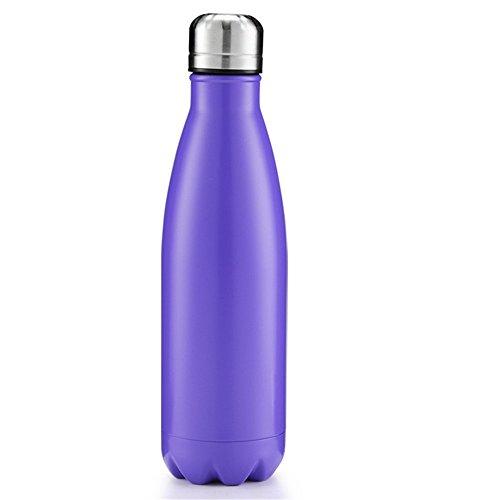 OJESS Water Bottle Double-walled Stainless Steel Sports Bottle Camping Travel Mug Healthy Drinks Hot 500 ml -17OZ BPA Free (Purple)