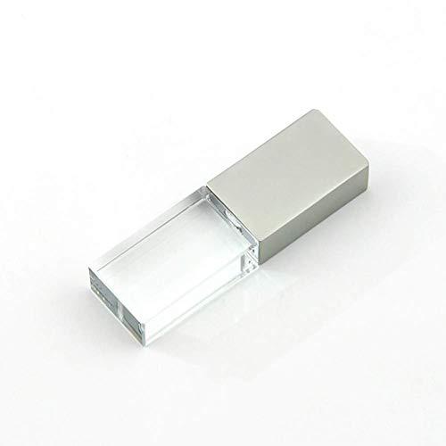 32GB USB 2.0 LED Light Flash Drive Crystal Transparent Glass Pen Drive Memory Stick Thumb Drives Pendrive