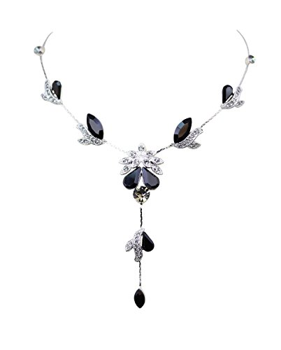- Faship Gorgeous Black Crystal Floral Necklace Earrings Set