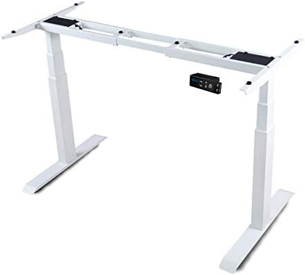 HAIAOJIA Electric Stand up Desk Frame Workstation, Dual Motor Ergonomic Electric Standing 3-Stage Lifting Columns Height Adjustable Base with Memory Controller – Frame Only