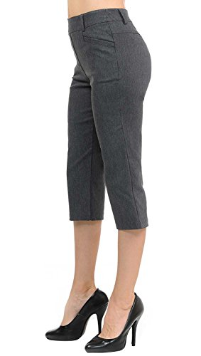 VIV Collection New Women's Straight Fit Trouser Capri Pants (X-Large, Heather Charcoal) by VIV Collection (Image #1)