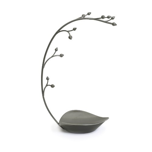 Hanging Tree Stand - Multi-Functional Necklace Metal Holder Display Organizer Rack With a Ring Dish Tray - Great For Organization - Can Be Used As Decor, Dining Room Centerpiece ()