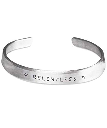 Millionaire Moments Relentless Bracelet, Stamped Cuff Bracelet - Self Affirmation Bracelet; Engraved Stamped Cuff Bracelet, Silver Color