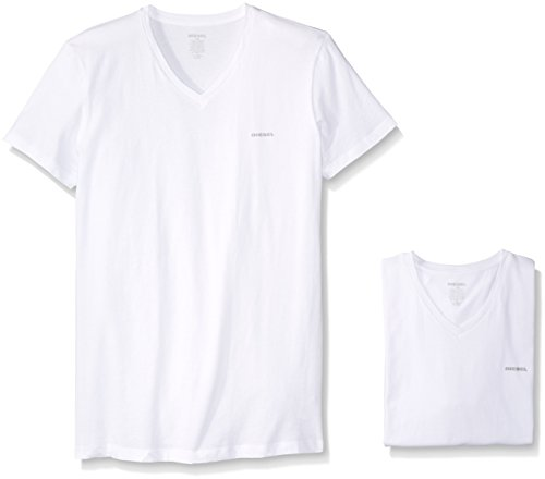 Diesel Men's Jake 3-Pack Essentials V-Neck T-Shirt, White, L