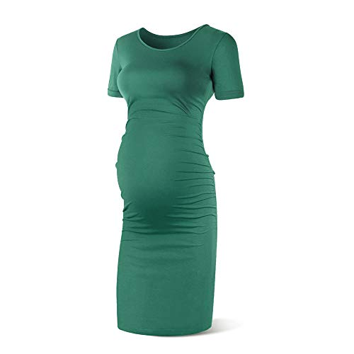 Rnxrbb Women Short Sleeve Maternity Dress Summer Pregnancy Clothes Ruched Side Dresses Scoop Neck,Dark Green,XL (Clothes Maternity Dresses)