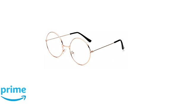 fd80a0723b Amazon.com  Tinksky Round Eyeglasses Clear Lens Glasses Ultra Light for  Santa Claus and Harry Potter Cosplay (Gold)  Clothing