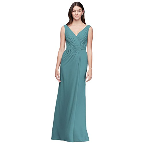 David's Bridal Faux-Wrap Pleated Chiffon Bridesmaid Dress Style F19585, Teal Blue, 10]()
