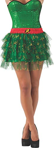(Secret Wishes  DC Comics Justice League Superhero Style Adult Skirt with Sequins Robin, Red, One)
