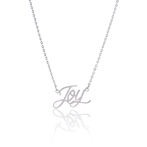 HUAN XUN Stainless Steel Word Charm Pendant Necklace, Joy ()