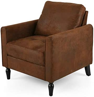 Christopher Knight Home Bunny Contemporary Club Chair with Plush Microfiber Cushions, Brown and Black, Emerald, Gold