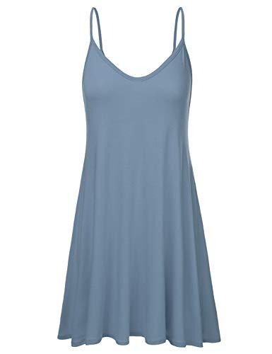 (NINEXIS Women's Basic Spaghetti Strap Cami Tank Tunic Dress DENIMBLUE XL)
