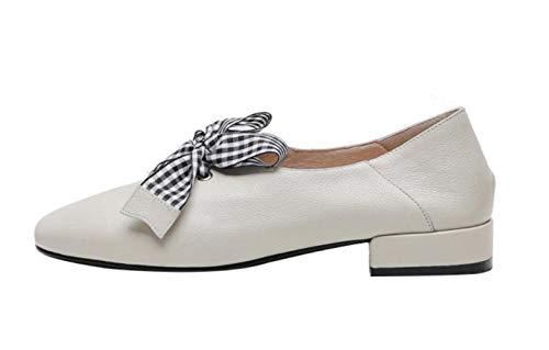 Corte Y Beige 2019 Zapatos Mary Bajo Cuero Con Tacón Jane Otoño Mujeres De Cabeza Primavera Glter Cómodos Redonda ISqYwTOxq