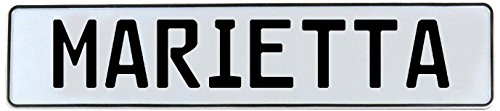 Vintage Parts 708209 Wall Art (White Stamped Aluminum Street Sign Mancave - The Marietta Avenues