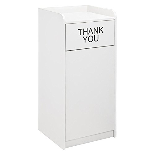 - Wooden Waste Receptacle with Tray Top, 36 Gallon, Gray