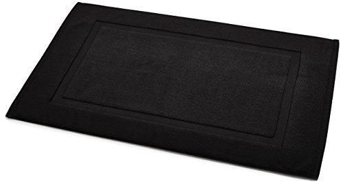 Black Matt - AmazonBasics Banded Bath Mat, Black