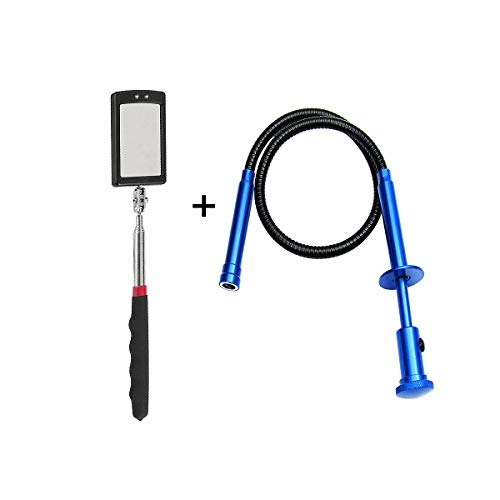 - Telescopic inspection mirror with LED lights. The claw magnetic pickup has LED lights. Combination tool set. Easy to observe and grab the items in the gap.