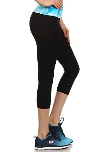 Harley Quinn Hairstyle (BABY-QQ Comfortable Womens Yoga Pants Black Mesh Sport Capris Leggings Tie-Dye Fold Over Waist Aqua Medium Aqua -Tie DyeMedium)