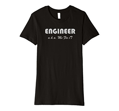 Engineer Black T-shirt (Womens Engineer T-Shirt aka Ms Fix it Medium Black)