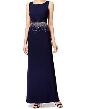 Women's Embellished Slit Sheath Dress Blue 6