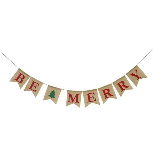 Woshishei Hessian Burlap Merry Christmas Bunting Sign Rustic Wedding Party Banner Clearance (Red)