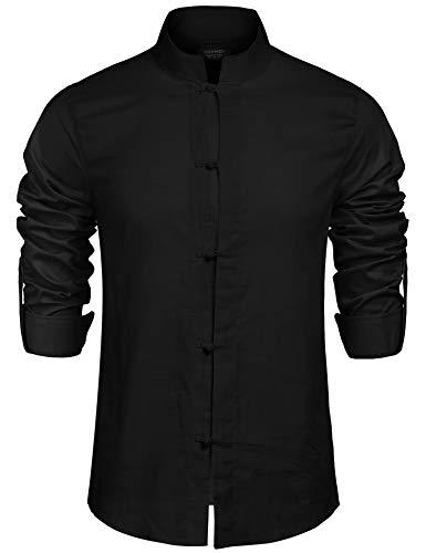 COOFANDY Men's Linen Casual Long Sleeve Mandarin Collar Basic Button Down Shirts (XXL, Black) (Frog Long Sleeve Shirt)
