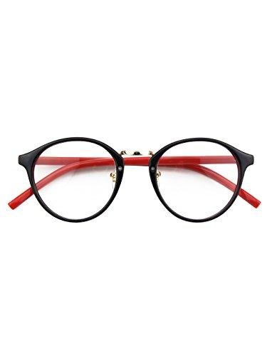 Heart Shaped Accessories - Happy Store CN65 Vintage Inspired Horned Rim Metal Bridge P3 UV400 Clear Lens Glasses,Black Red