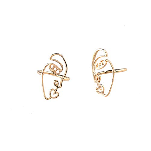 2PCS/Set Hip Hop Abstract Face Ring Set Hollow Minimalist Matching Half Rings Women Mujer Couple FOF85051