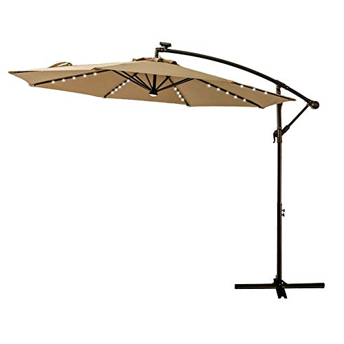 FLAME&SHADE 10' Offset Cantilever Hanging Umbrella with Solar LED Lights for Large Outdoor Patio Table Balcony Poolside Deck Garden, Beige ()