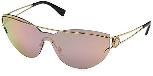 bb2fec637e21b0 Versace v unifiée lunettes de soleil pâle or jaune rose miroir VE2186  12524Z 38 Yellow Rose