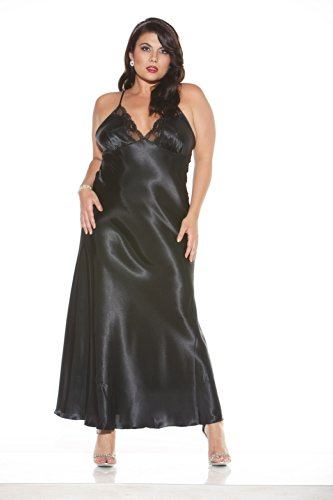 Shirley of Hollywood Women's Plus-Size Plus Charmeuse and Lace Long Gown