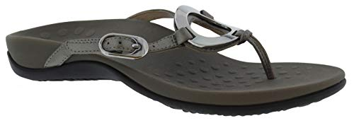 (Vionic Women's Rest Karina Toe-Post Sandal - Ladies Flip- Flop with Concealed Orthotic Arch Support Pewter 10 M US)