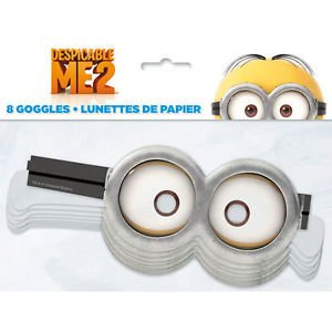 Despicable Me 2 Minions Party Supplies 8 Paper Googles -