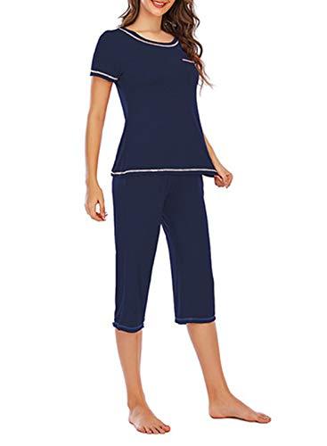 FOBEXISS Women's 2 Piece Loungewear Pajama Short Sleeves Top Capri Pants Nightwear Sleepwear Pjs Sets