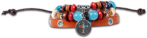 Tan Silver Cross Boho Bracelet