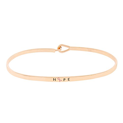 Rosemarie Collections Women's Pink Ribbon Thin Hook Bangle Bracelet Hope (Rose Gold Color) -