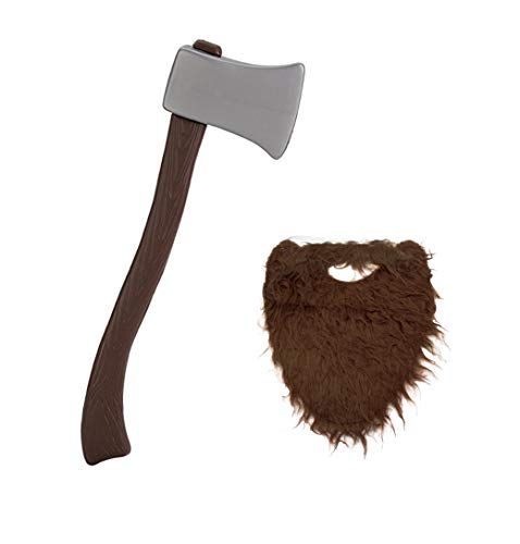 Lumberjack Brown Beard with Plastic Toy Ax Bundle-2