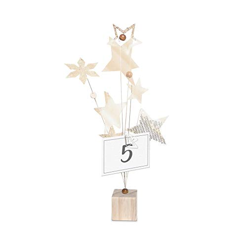 23 Bees | Table Centerpieces for Party | Photo Holder (Rustic Gold Handcrafted Star Design, 12 Pack) | Centerpiece Holders for Tables with Individual Card Number Slots | Dining Room & Kitchen Decor
