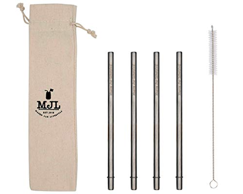 Medium Safer Rounded End Stainless Steel Metal Straws for Pint Mason Jars, Medium Cups, or Pint Glasses (4 Pack + Cleaning Brush + Bag)