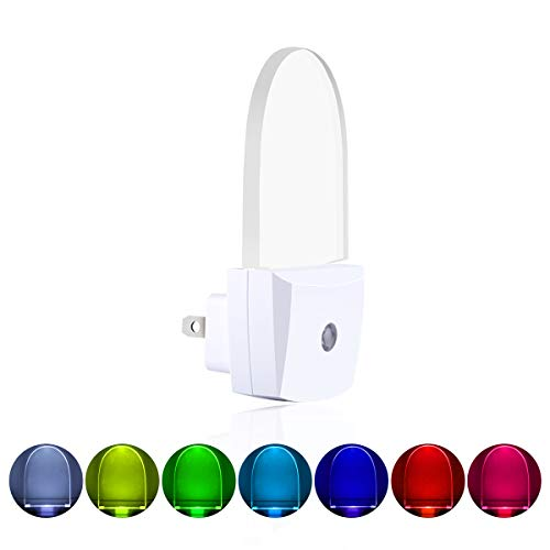 [ Pack of 2 ] Multicolor Night Lights, Plug in LED Wall Lamp with Dusk to Dawn Sensor, Auto ON/Off