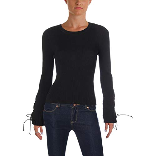 Vince Camuto Specialty Size Womens Petite Lace-Up Bell Sleeve Ribbed Sweater Rich Black PL One Size