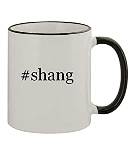 #Shang - 11oz Hashtag Colored Rim & Handle Sturdy Ceramic Coffee Cup Mug, Black