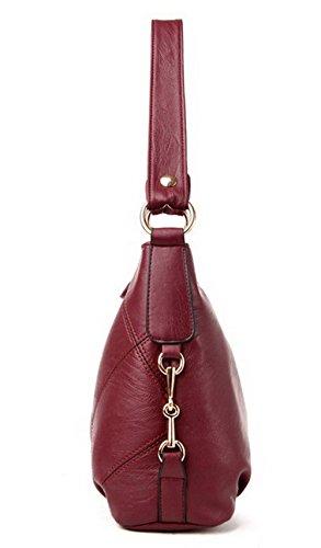 Pu Mode Zippers FBUFBD180902 à Vineux tout fourre Cuir Femme Sacs bandoulière Sacs Rouge AllhqFashion wqtxWAf5pn