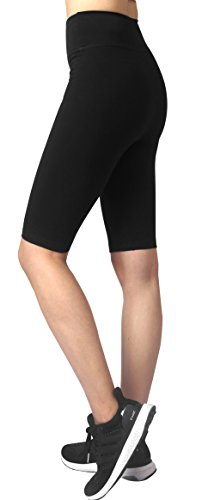 Zinmore Women's Capri Yoga Shorts Workout Pants Knee Length Tights Running Shorts Half Pants (Large, Black)