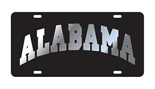 ALABAMA CRIMSON TIDE Black Mirrored Auto License Plate Tag Crimson Tide Car Tag
