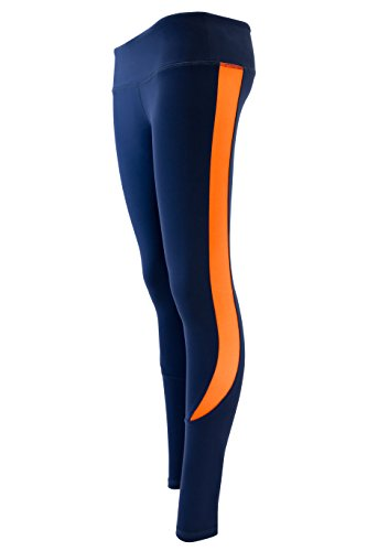 Racer Stripe Yoga Pant Full Length Leggings Navy Blue (Large)